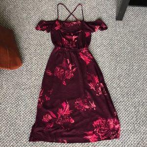 LUCKY BRAND -Sangria Floral Off the Shoulder Dress